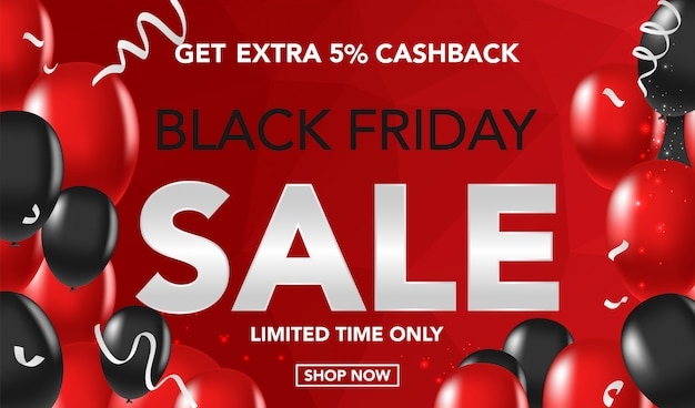 Fondo dell'insegna di vendita di black friday con i ballons e il conffeti rossi e neri