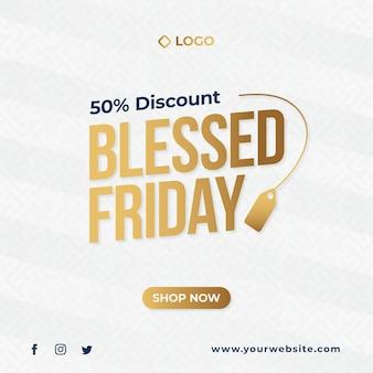 Banner di vendita del black friday design, modello di post sui social media del beato venerdì