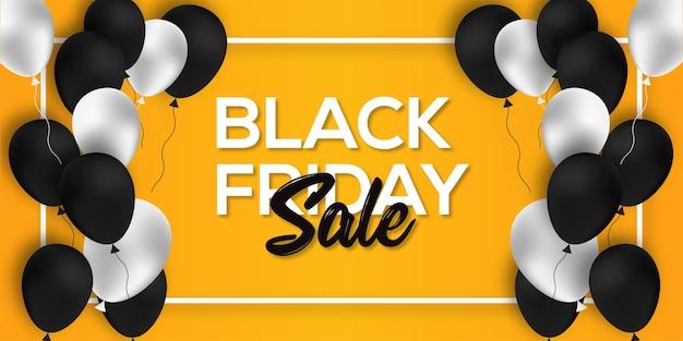 Black friday sale banner design template palloncini bianchi e neri su sfondo giallo