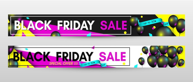 Modello di disegno di banner vendita venerdì nero impostato con palloncini neri