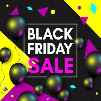 Modello di progettazione di banner di vendita venerdì nero con palloncini neri