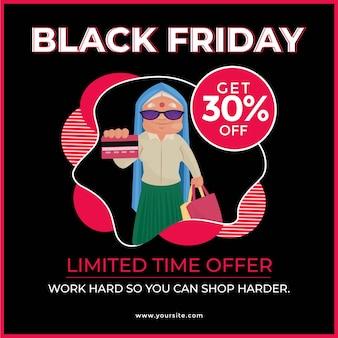 Modello di disegno di banner di vendita venerdì nero con donna che mostra carta