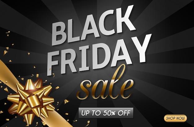 Design di banner di vendita venerdì nero con nastro d'oro e fiocco.