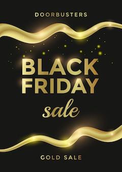 Design di banner di vendita del black friday con testo dorato ed elementi di ricciolo. illustrazione vettoriale
