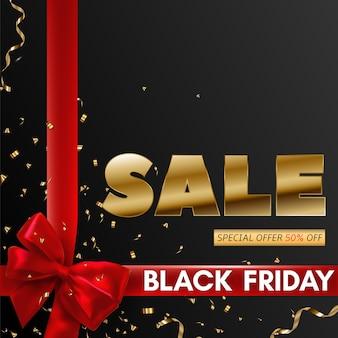 Progettazione di banner di vendita venerdì nero con nastro rosso e fiocco.