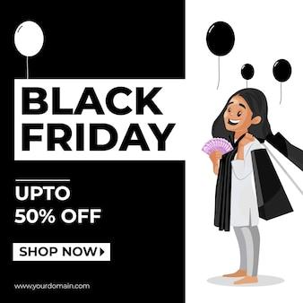 Venerdì nero vendita banner design con donna che tiene soldi e borse della spesa in mano
