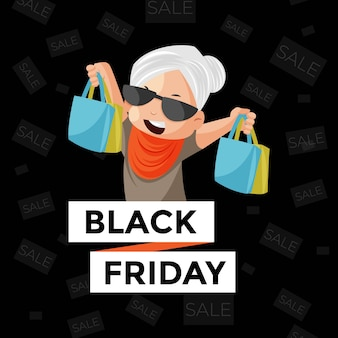 Venerdì nero vendita banner design con donna che tiene i sacchetti della spesa nelle mani