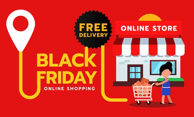 Banner di vendita venerdì nero, consegna gratuita per lo shopping online.