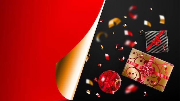 Banner di vendita del black friday. angolo di carta arricciata dorata e posto per l'iscrizione. confezione regalo, pezzi di serpentino rossi e gialli sfocati su sfondo scuro. illustrazione vettoriale per poster, volantini, cartoline