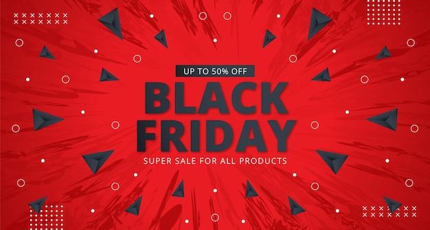Progettazione di layout banner vendita venerdì nero in sfondo rosso.