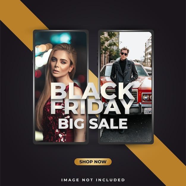 Banner o poster di vendita del black friday con lo smartphone su sfondo nero e oro
