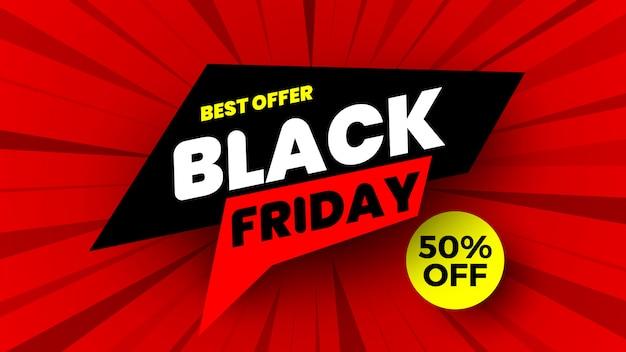 Insegna di vendita di black friday su fondo a strisce rosso. illustrazione.