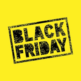 Banner di vendita del black friday scribble grunge timbro su sfondo giallo timbro del black friday