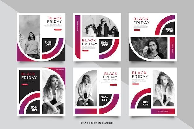 Modello di post di social media banner di vendita venerdì nero