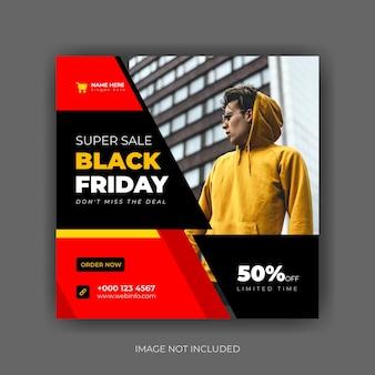 Banner di vendita del black friday o volantino quadrato per modello di post sui social media vettore premium