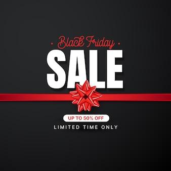 Modello di banner di vendita venerdì nero con fiocco rosso