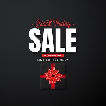 Modello di banner di vendita venerdì nero con scatole regalo rosse.
