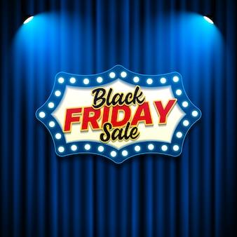 Modello di banner di vendita venerdì nero con stile retrò segno
