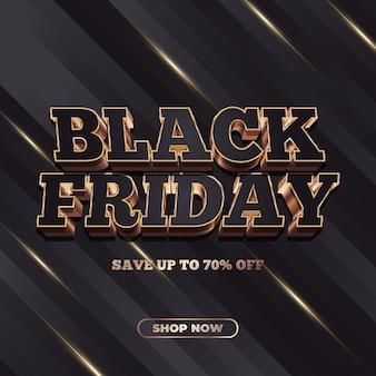 Bandiera di vendita del black friday con testo 3d nel concetto di nero e oro
