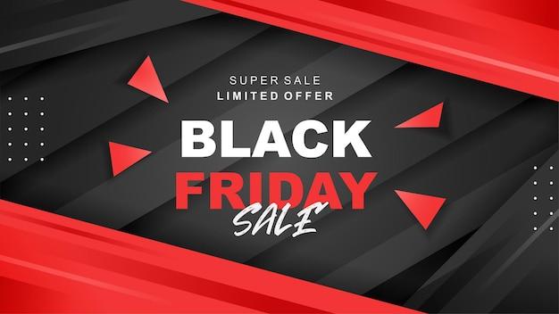Banner di vendita del black friday con design di forme astratte a
