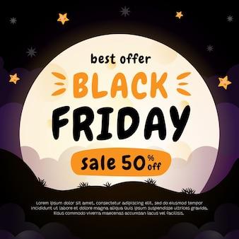 Banner di vendita venerdì nero con la luna piena di sfondo