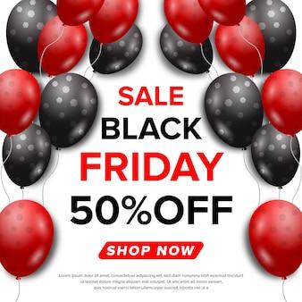 Banner di vendita venerdì nero con concetto di ballon