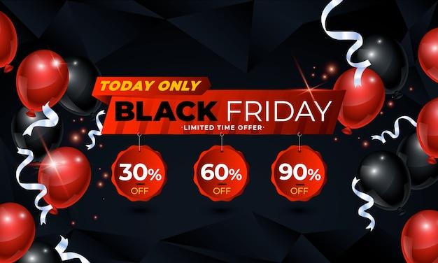 Banner di vendita venerdì nero con serpentine di palloncini e coriandoli