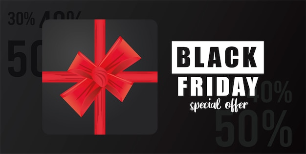 Banner di vendita venerdì nero con regalo nero