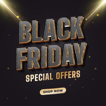 Banner di vendita del black friday con testo nero e oro con luce incandescente
