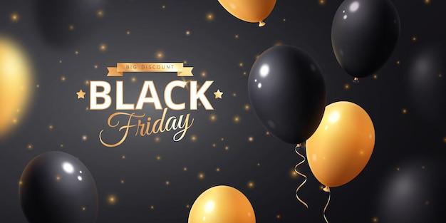 Banner di vendita venerdì nero con palloncini neri e gialli