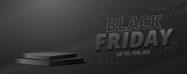 Banner di vendita del black friday con sfondo scuro e design del podio