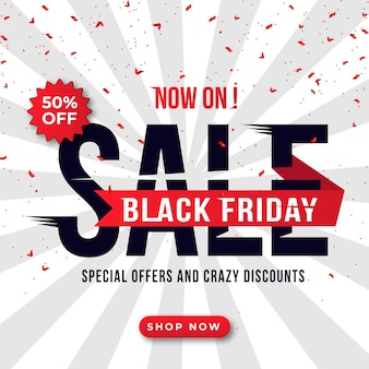Banner di vendita venerdì nero con dettagli di sconto per sito web e social media