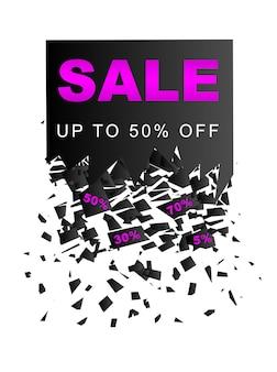 Banner di vendita del black friday con effetto esplosivo. sfondo vettoriale per promozione sconto vendita isolato su sfondo bianco.