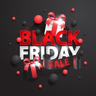 Banner di vendita venerdì nero, con regalo e sfondo scuro