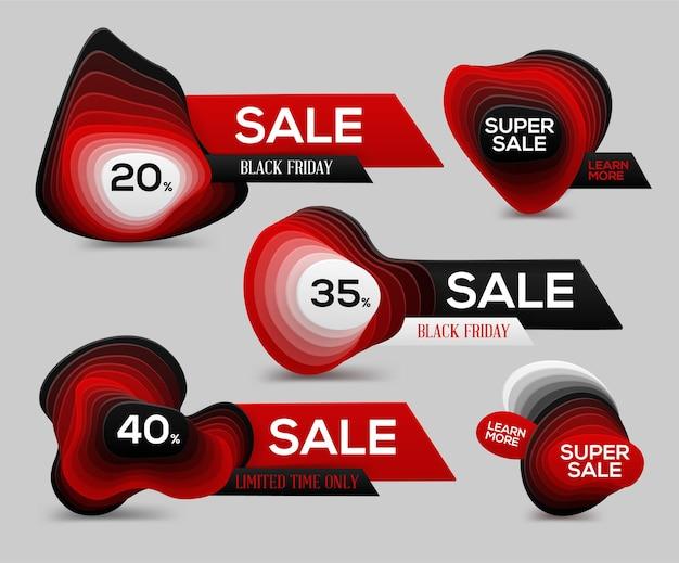Banner di vendita del black friday con livelli di gradazione per pubblicità e super offerte.