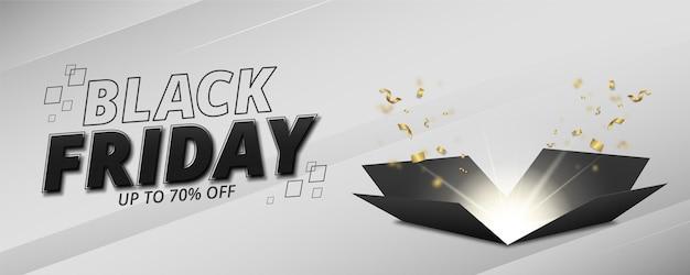 Banner di vendita del venerdì nero con sfondo grigio e design a scatola aperta