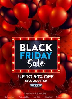 Banner di vendita del black friday con molti palloncini rossi e neri per vendita al dettaglio, shopping o black friday