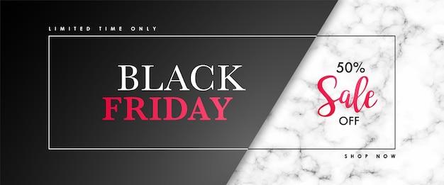 Banner di vendita venerdì nero con struttura in marmo e testo.