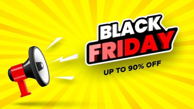 Banner di vendita venerdì nero con megafono illustrazione vettoriale