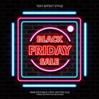 Banner di vendita del black friday con effetti di testo al neon