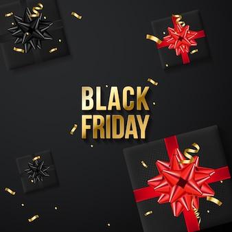 Banner di vendita del black friday con scatole regalo realistiche e coriandoli d'oro
