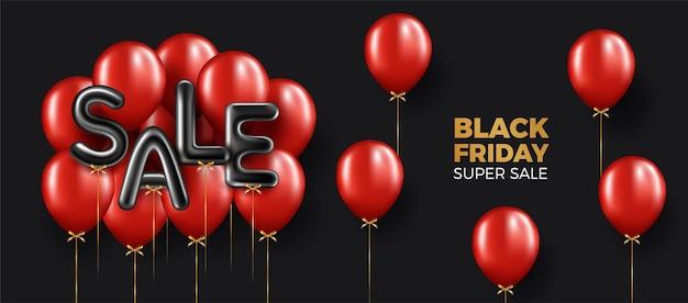Banner di vendita del black friday con palloncini rossi