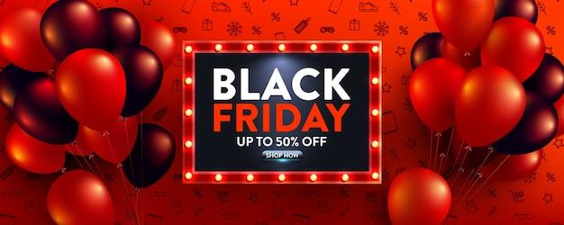 Banner di vendita venerdì nero con palloncini rossi e neri per vendita al dettaglio, shopping o venerdì nero