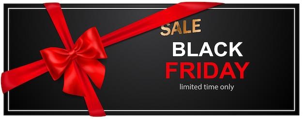 Banner di vendita del black friday con fiocco rosso e nastri su sfondo scuro. illustrazione vettoriale per poster, volantini o cartoline.