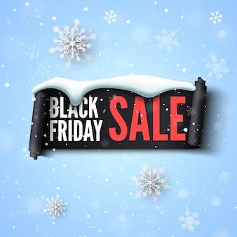 Banner di vendita venerdì nero con nastro, berretto da neve e fiocchi di neve.
