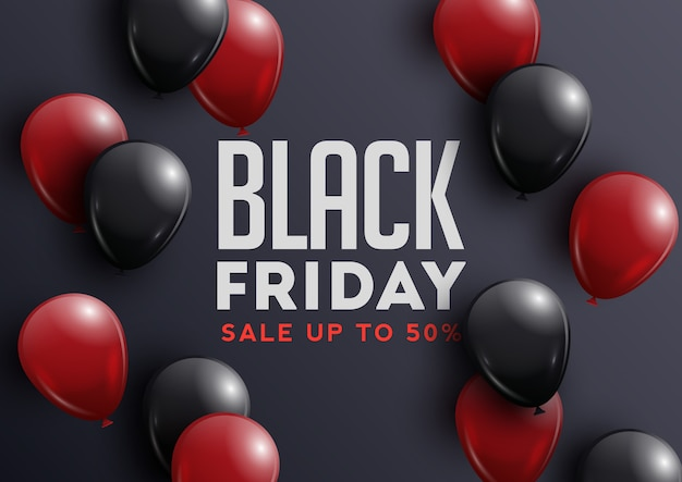 Banner di vendita venerdì nero con palloncini lucidi su sfondo nero con cornice