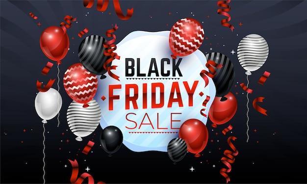 Banner di vendita venerdì nero con palloncini lucidi, serpentine e conffeti