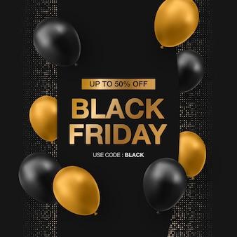 Banner di vendita venerdì nero con palloncini lucidi