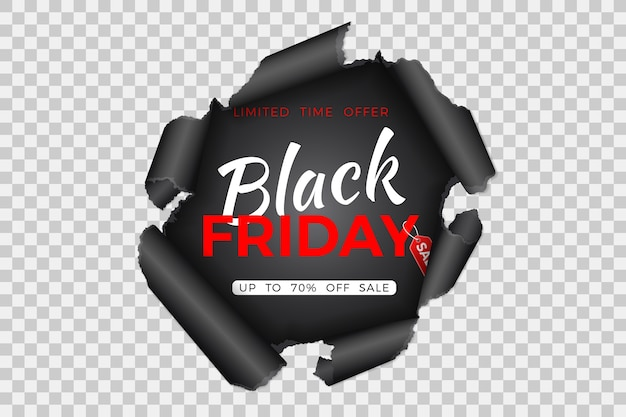 Banner di vendita venerdì nero con foro strappato in carta e tag venerdì nero su sfondo trasparente