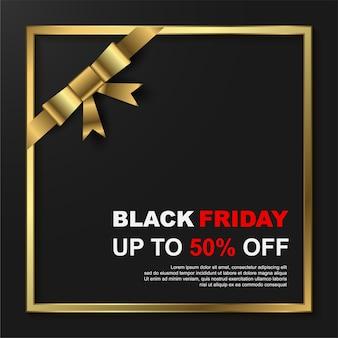 Modello di banner di vendita venerdì nero con cornice dorata.